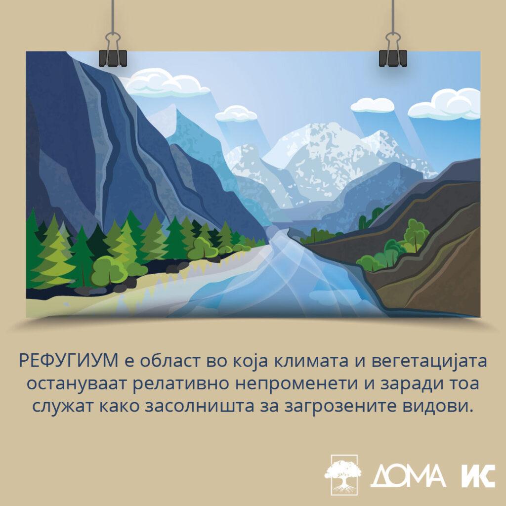 Илустрација со текст: Рефугиум е област во која климата и вегетацијата остануваат релативно непроменети и заради тоа служат како засолништа за загрозените видови.